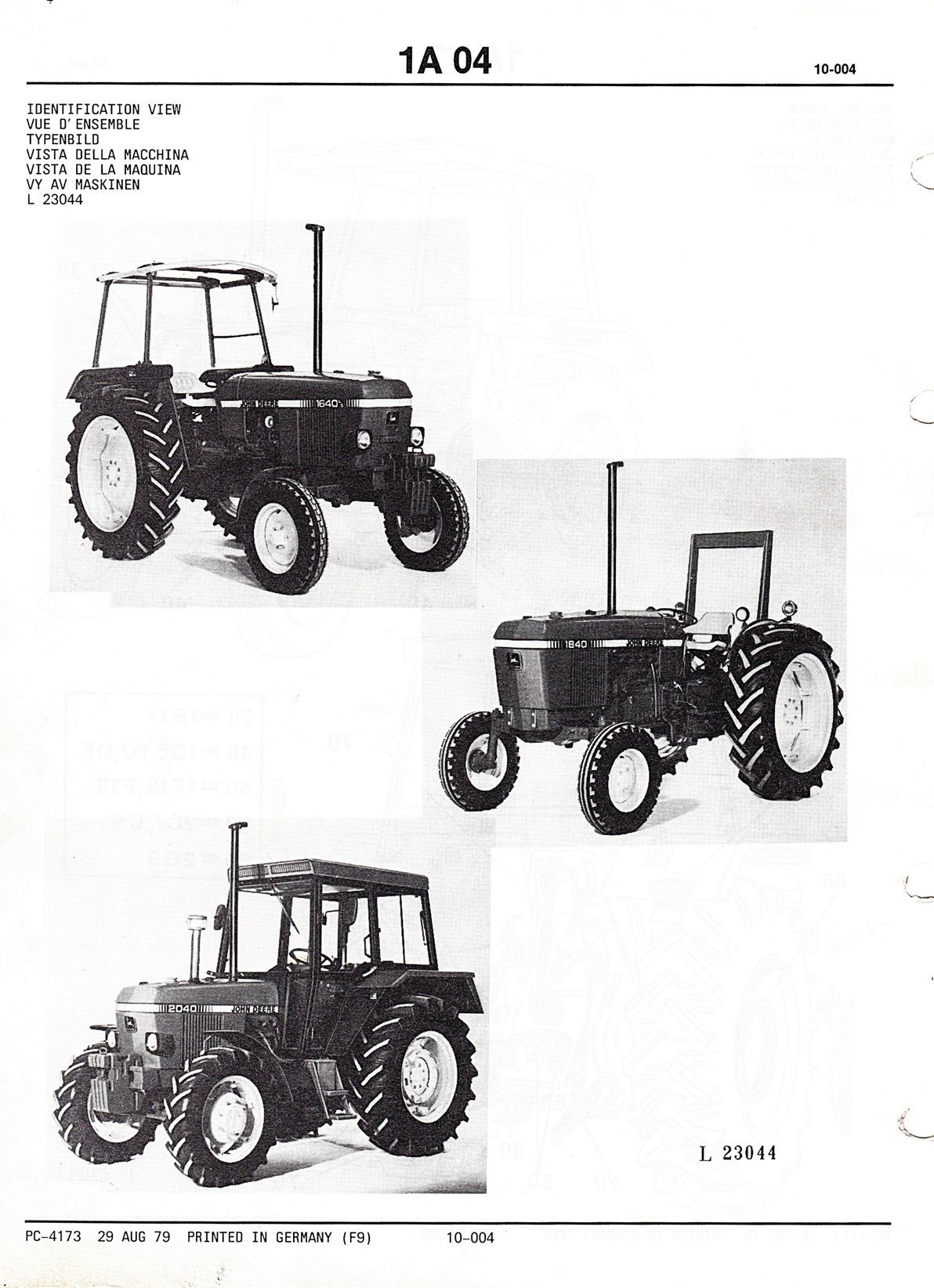 Ersatzteilkatalog John Deere Traktoren 1640, 1840 und 2040
