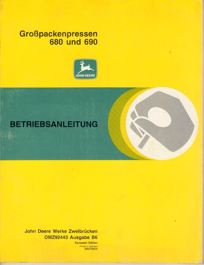Bedienungsanleitung Großpackenpresse John Deere 680