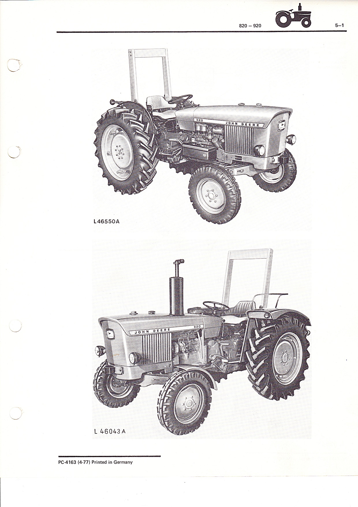 Ersatzteilekatalog John Deere Traktoren 820 und 920